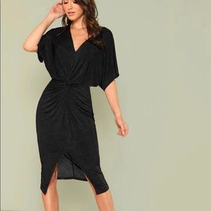 WORN ONCE- Batwing Knotted Dress